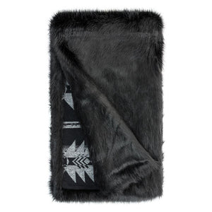Faux Fox and Wool Aztec Blanket, Black