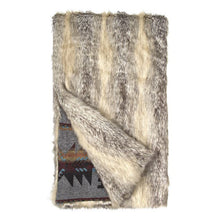 Faux Fox and Wool Aztec Blanket, Grey