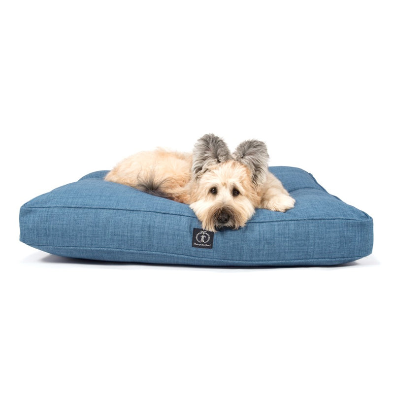 Heathered Rectangle Dog Bed, Dark Blue