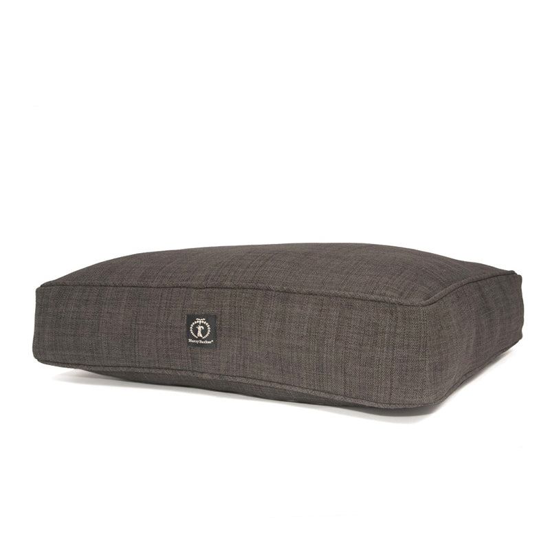 Heathered Rectangle Dog Bed, Dark Grey