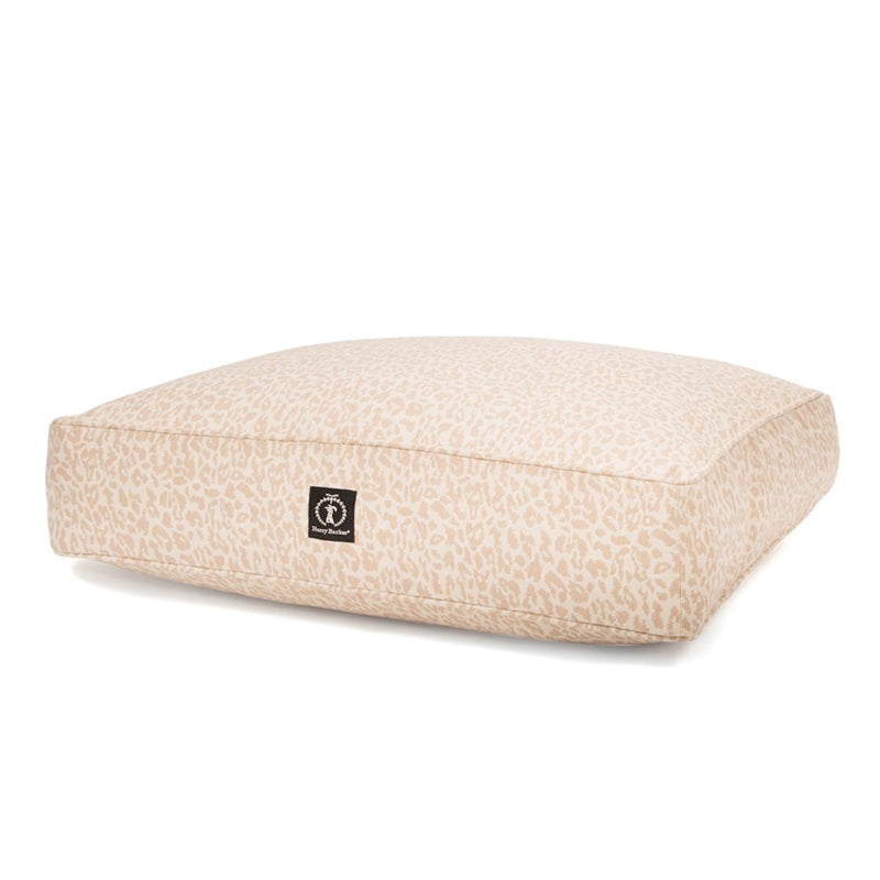 Heathered Rectangle Dog Bed, Natural Leopard
