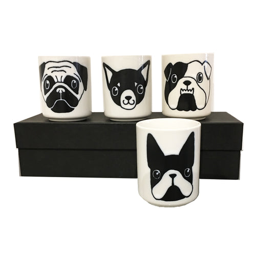 Dog Faces Mugs set/4