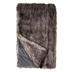 Limited Edition Grey Wolf Faux Fur Throw