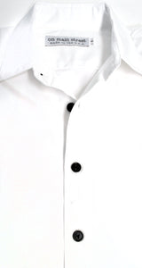 On Main Street Boyfriend Shirt, White/Black Buttons