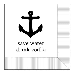 Modern General® Cocktail Napkin, Save Water