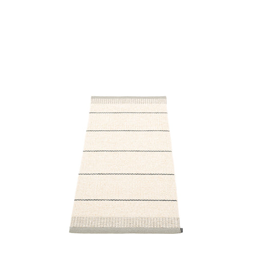 Coopers Beach Plastic Floor Mats Vanilla/Warm Grey/Granit Stripes (Multiple Sizes)