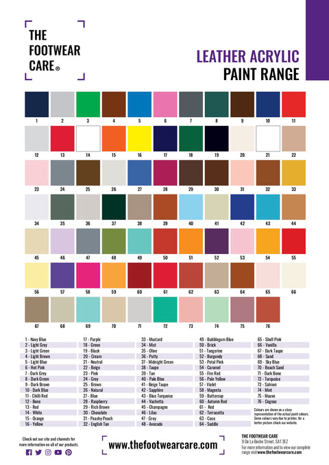 The Footwear Care Standard Colour Chart - The Footwear Care