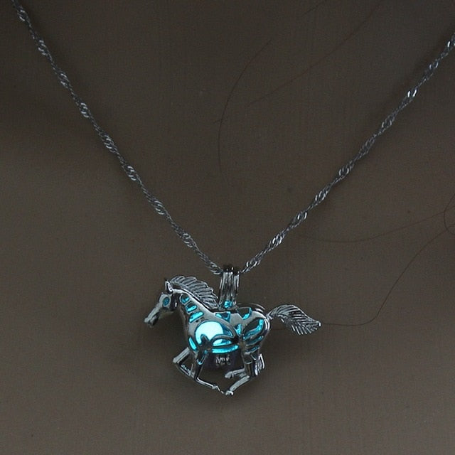 Glow in the Dark Running Horse Pendant