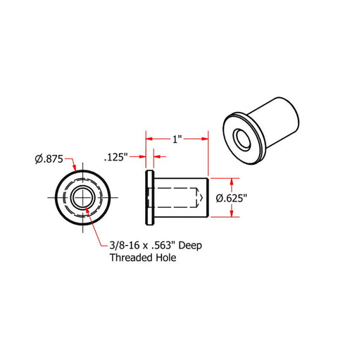 Tophat Style Blind Threaded 3/8-16 Steel Bungs by TC Bros
