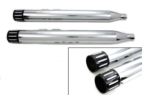 Chrome Muffler Set with Black Ball Milled Revolver End Tips - V-Twin Mfg.