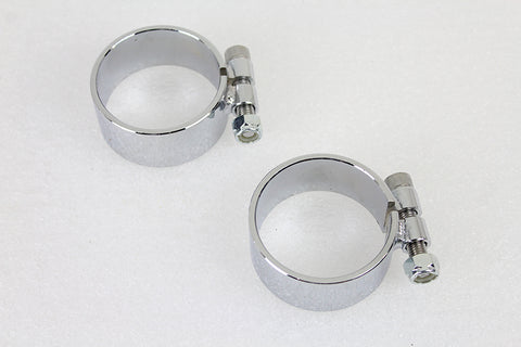 Chrome 2-1/8  Wide Muffler Body and End Clamp Set - V-Twin Mfg.
