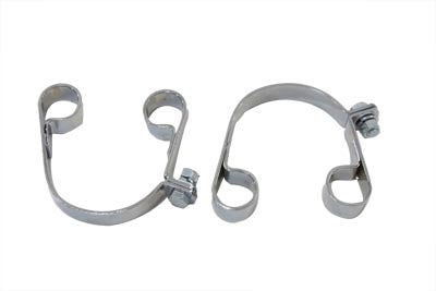 Chrome Muffler Clamp Set - V-Twin Mfg.