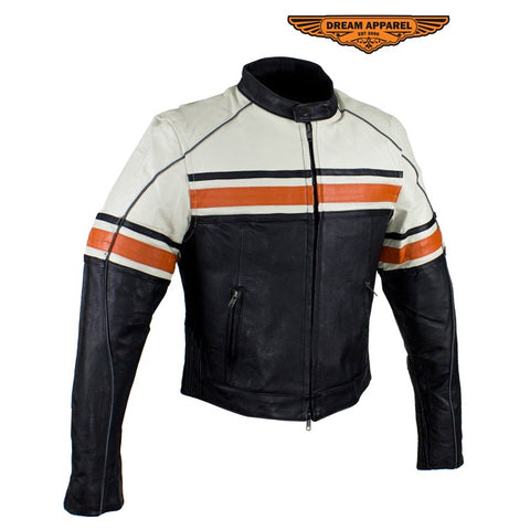 Women's Leather Racer Jacket With Upper Half Cream & Orange Stripe Accross Chest