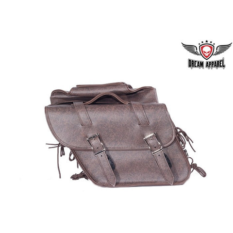 PVC Brown Motorcycle Saddlebag