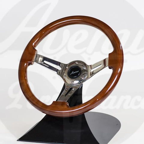 AVENUE STEERING WHEEL WOODGRAIN W/ CHROME SPOKES