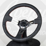 AVENUE STEERING WHEEL BLACK LEATHER/ RED STITCH/ CHROME SPOKES