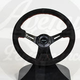 AVENUE STEERING WHEEL BLK SUEDE/ RED STITCHING/ BLK SPOKES