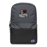 I Heart Haters Embroidered Champion Backpack