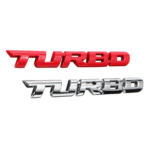Red Sliver 3D TURBO Emblem
