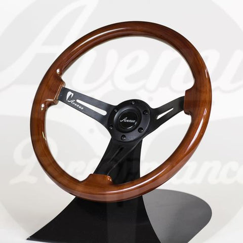 AVENUE STEERING WHEEL WOODGRAIN W/ BLACK SPOKE