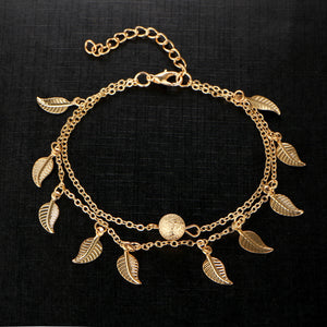 Double Chain Leaf Anklet