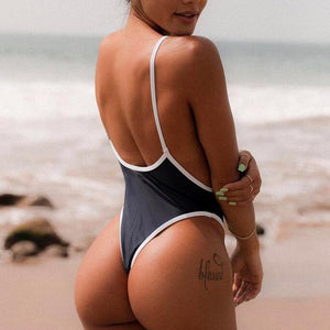 Patchwork One-Piece Thong Swimsuit