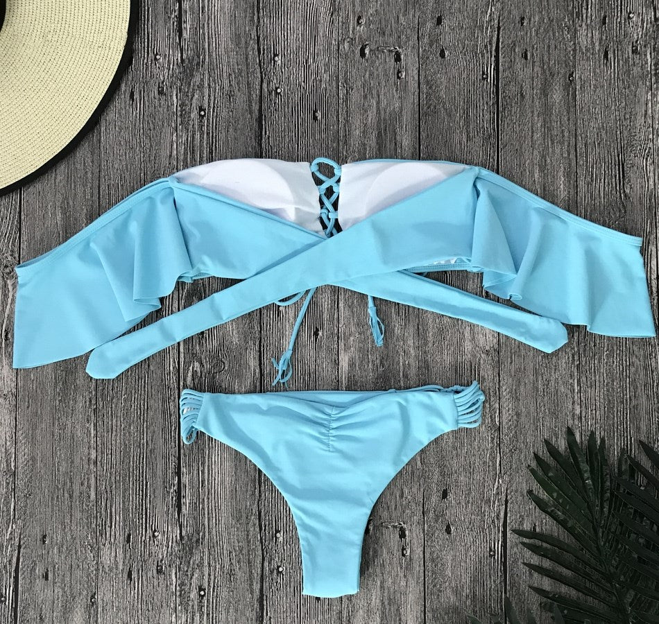 Lace-Up Ruffle Bandeau Bikini Swimsuit Set