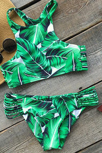 Tropical Leaves High Neck Cheeky Bikini
