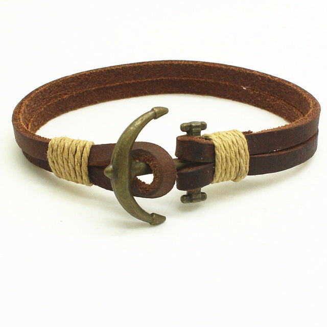 Handmade Leather Anchor Bracelet