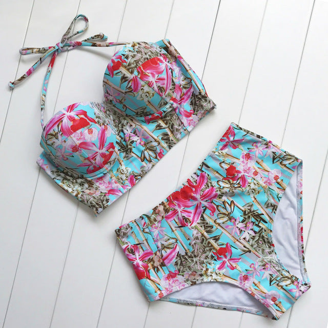 Floral Print High-Waist Vintage Two-Piece Swimsuit