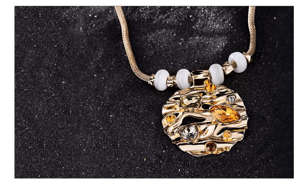 Coffee Gold Large Rhinestone Necklace