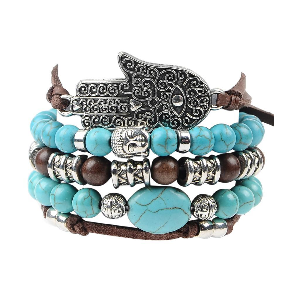 Hamsa Hand Five-layer Leather Charm Bracelet