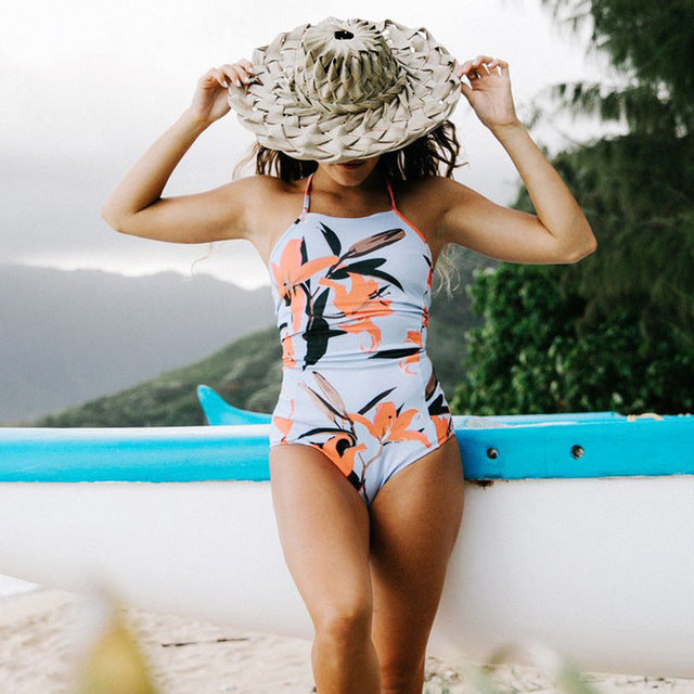 One-Piece Lace Up Swimsuit