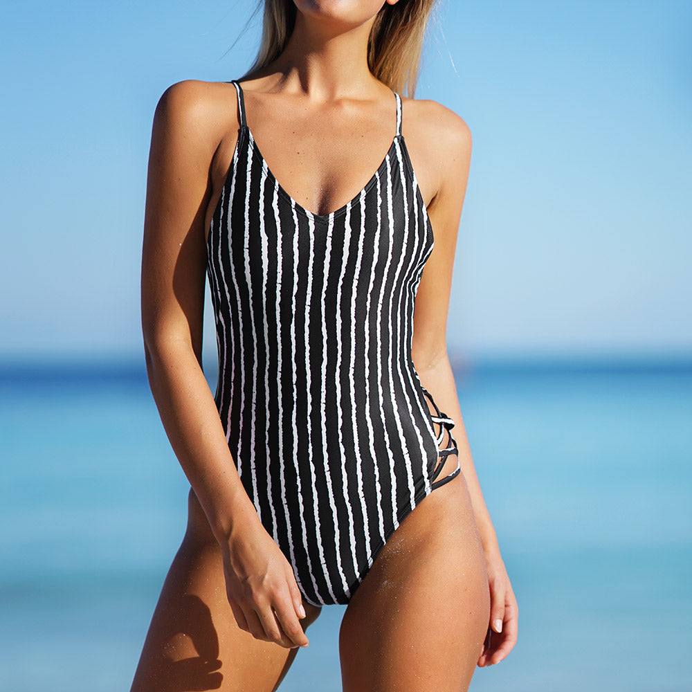 Cheeky Vertical Stripe One-piece Swimsuit