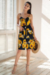 Sunflower Midi Cotton Button-Up Dress
