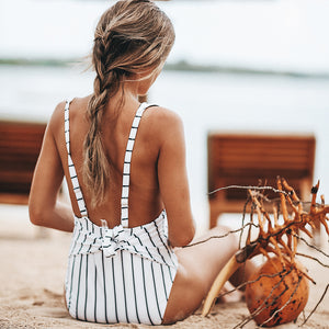 Vertical Stripe One-piece Swimsuit