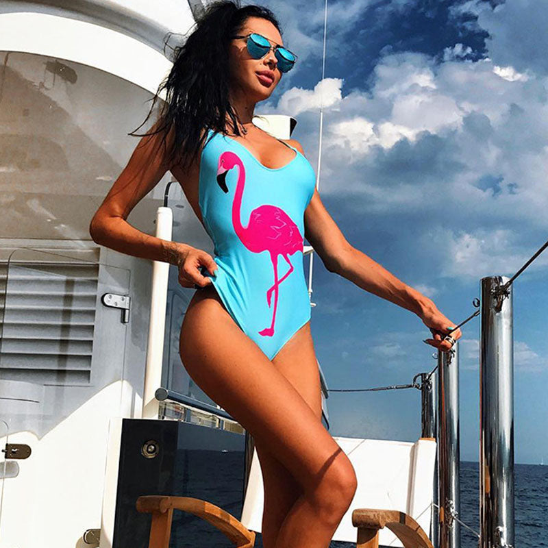 Flamingo Print One Piece Thong Cut Swimsuit