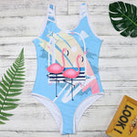 Retro Flamingo Print One Piece Swimsuit