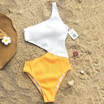 One-Shoulder Cut-Out One-piece Swimsuit