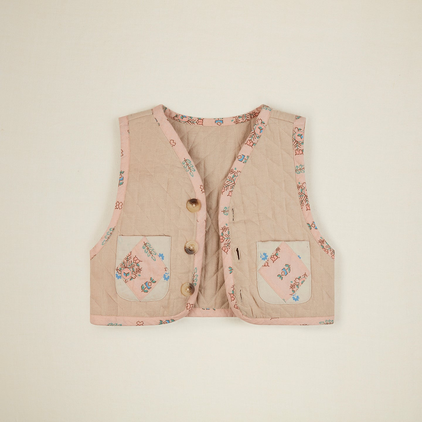 EBBA PATCHWORK GILET - OAT (BABY & CHILD)