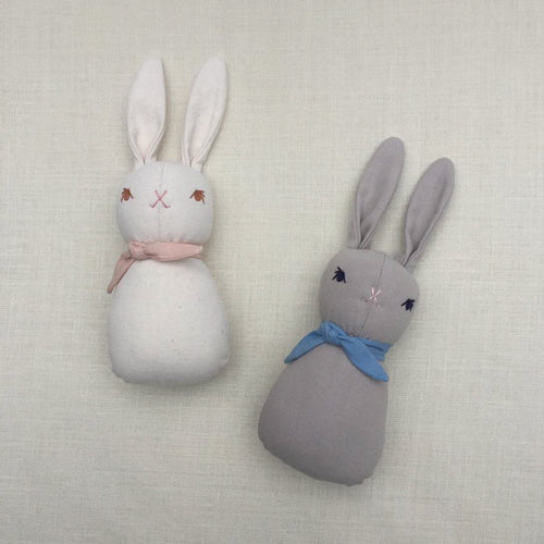 Polka Dot Club for Apolina: Small Bunny rattle- Pink/ Blue