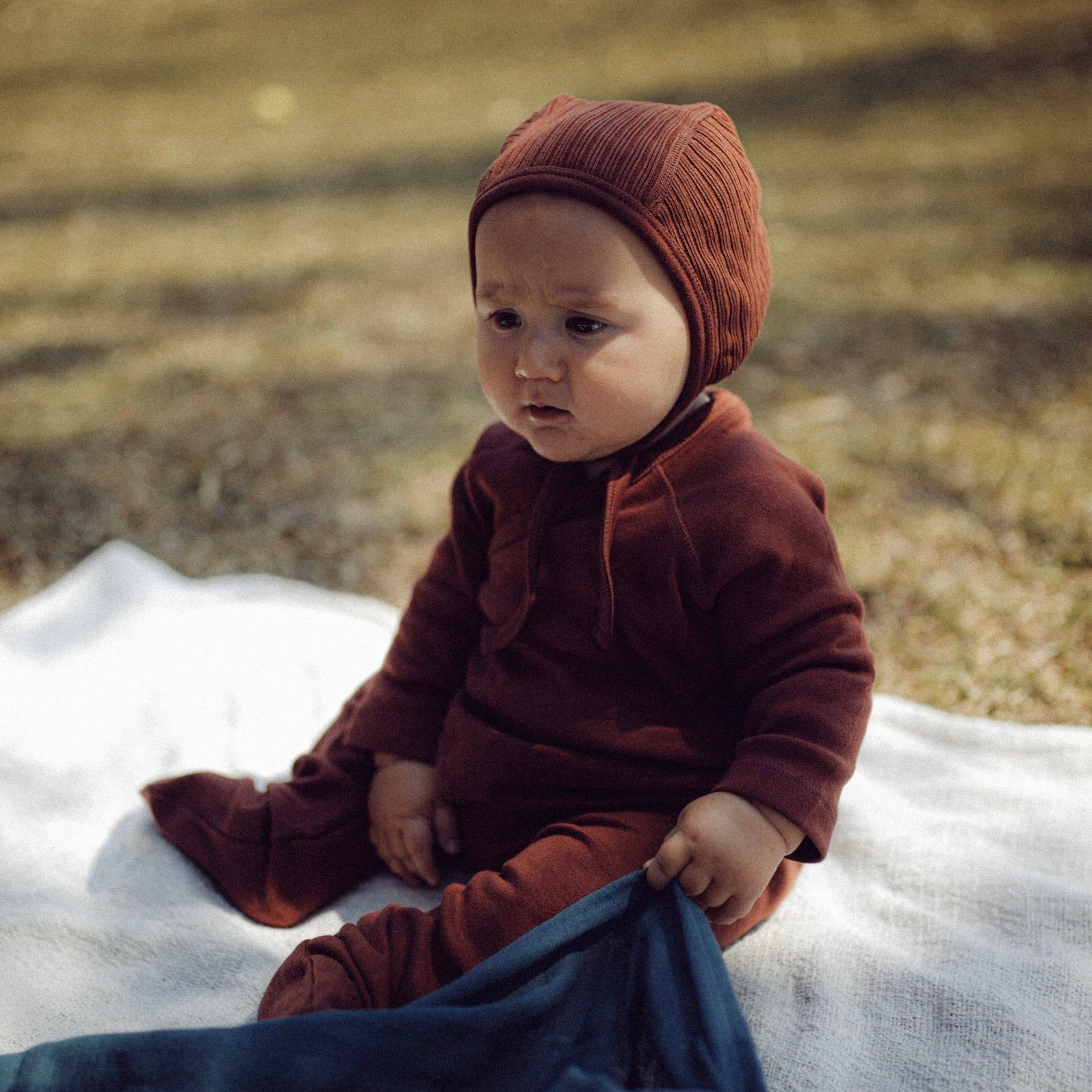 BABY: JUNA JERSEY RIB BONNET- BUCKTHORN / GOLDEN (was £24)