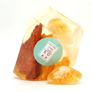 Citrine Crystal Soap With A Real Crystal In Each Vegan Glyceron Bar Lemongrass Essential Oil Scent - 4oz