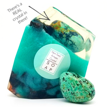 A Real Crystal In Each Handmade Vegan Soap Gift Set of 3 - Turquoise Rose Quartz Amethyst