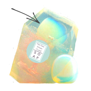 Opalite Crystal Soap With A Real Crystal Stone In Each Vegan Bar Peppermint Essential Oil Scent - 4oz