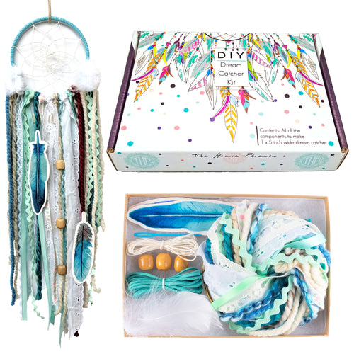 Adorable Aqua Blue DIY Dream Catcher Craft Kit