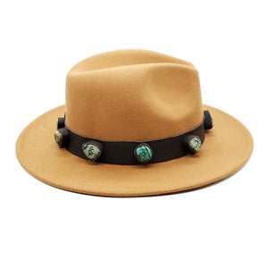 Wool Wide Brim Boho Fedora Festival Hat With Artisan Applied Turquoise Crystal Stones Genuine Leather Panama Hat Jazz Derby Men Women