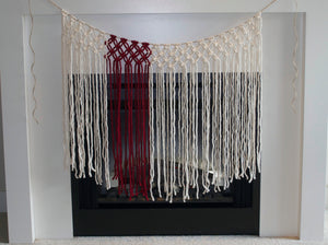 The House Phoenix Red Yarn Handmade Macrame Window Hanging