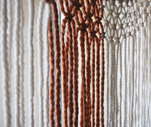 The House Phoenix Burnt Orange Hand Made Yarn Macrame Window Curtain