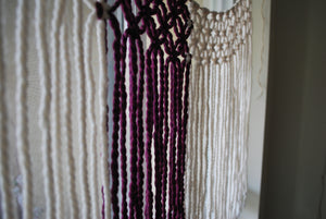 Purple Yarn Macrame Window Curtains.  Customize By Width. - The House Phoenix
